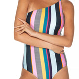 Women Sexy One-piece Striped Bikini Suit with Chest Pads