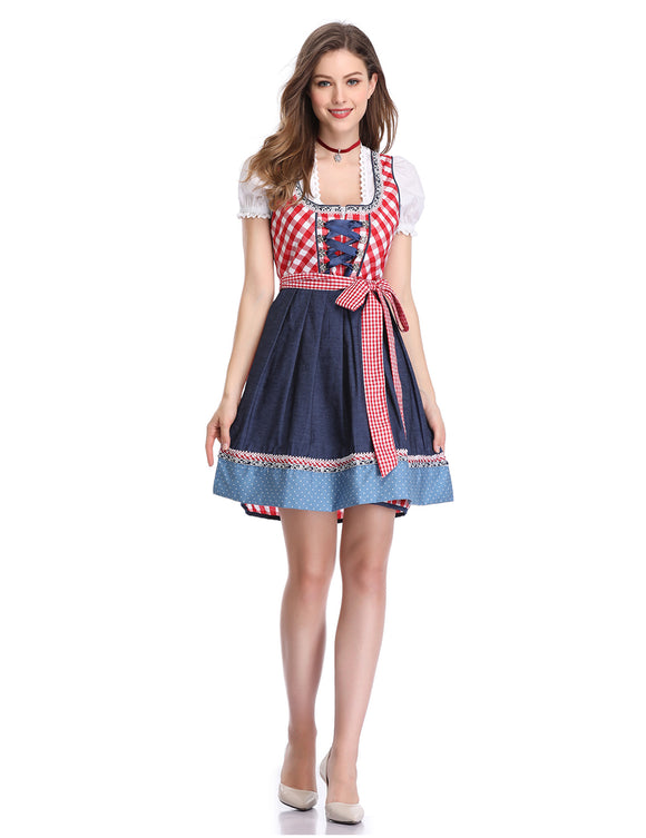 Oktoberfest ladies three-piece denim stitching plaid dress (upgrade version)
