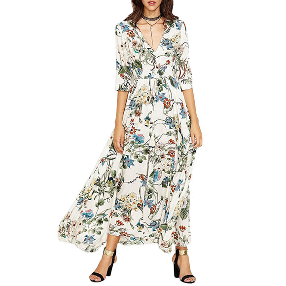 Women Half Sleeve Button Side Slit Printing Dress