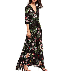 Women Button Slit Floral Printing Long Dress