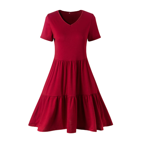 Women V Collar Short Sleeve Pleated Dress