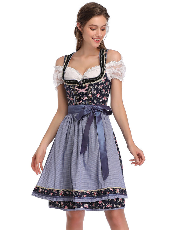 KOJOOIN Women's Vintage Floral German Dirndl Dress 3 Pieces Traditional Bavarian Oktoberfest Costumes for Halloween Carnival