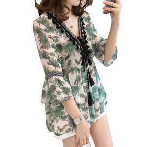 Women Fashion Printing V-neck Pagoda Sleeve Chiffon T-shirt