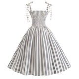 Fashionable Ladies Summer Stripe Printed Dress