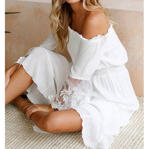 Women Summer Off Shoulder Sundress Lace Sleeve Boho Long Maxi Matching Dress