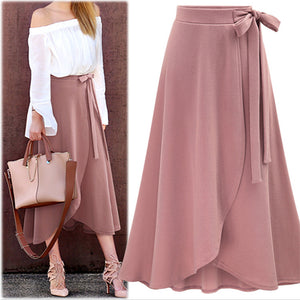 Women Fashion Medium-length High-waisted Irregular Slit Skirt
