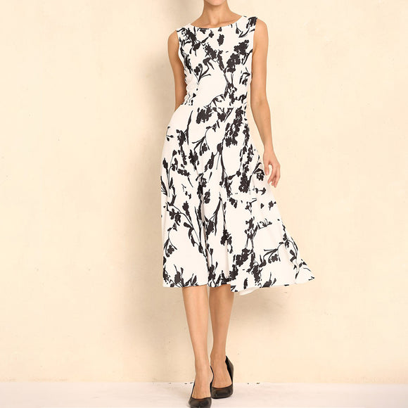 Women Floral Vintage Style Sleeveless Round Neck Flower Print Dress