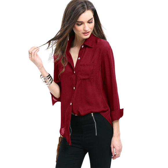 Women Casual All-match Solid Color Lapel Long Sleeve Chiffon Shirt