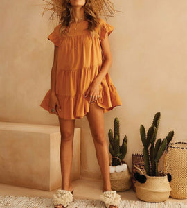 Women Summer Simple Round Collar Orange Color Cascading Ruffles Dress