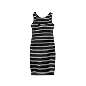 Women Fashion Sexy Slim Side Slit Stripe Casual Vest Bottoming Dress