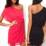 Western Style Summer Fashion Solid Chiffon Mini One Shoulder Dress