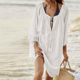 Western Style Loose Fit Lace Stitching Beach Sun Protection Coat