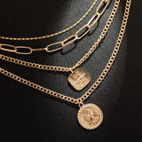 Women Multi-layer Necklace Coin Shape Alloy Pendent