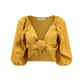 Women Summer Vintage Sexy Loose Beach Vacation Puff Sleeve Bow-knot Chiffon Shirt