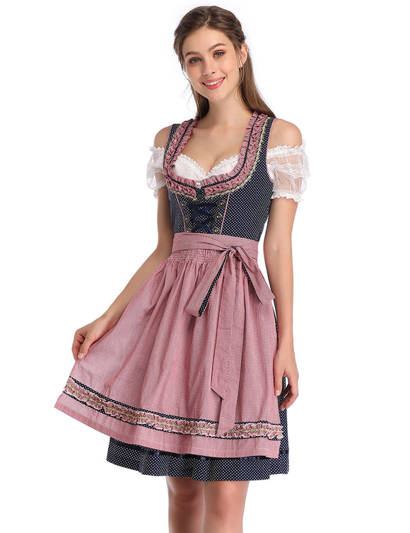 KOJOOIN Women's Vintage 3-Piece Embroidery Floral German Party Oktoberfest Dirndl Dress-Blue