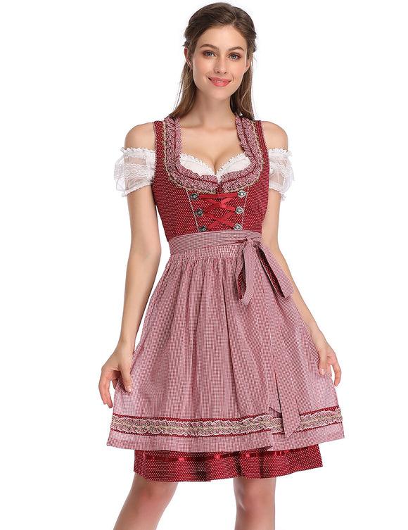 KOJOOIN Women's Vintage 3-Piece Embroidery Floral German Party Oktoberfest Dirndl Dress