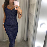 Women Sexy Slim Sleeveless Glittering Formal Dress for Party Wear