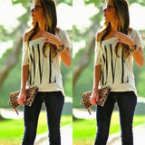 Woman Large Round Collar Short Sleeves LOVE Letters Printing T-shirt
