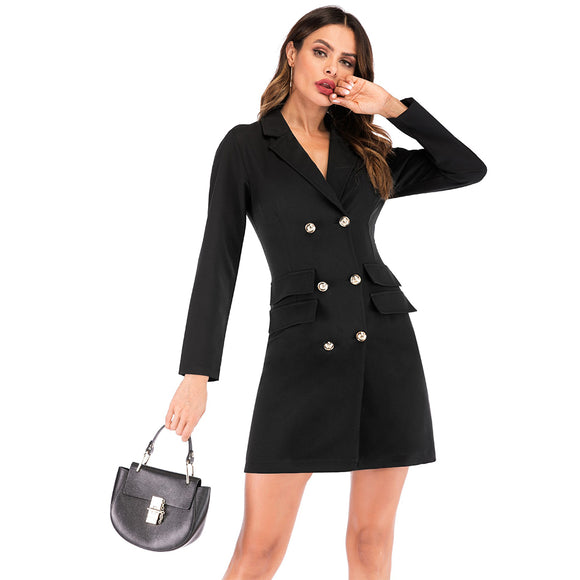 Women Fashion Solid Color V Collar Double-breasted Suit Jacket Long Sleeve Dress