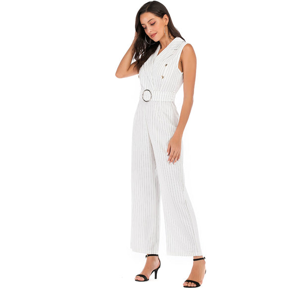 Women Fashion V Collar Sleeveless Business Suit Style Waist Belt Jumpsuits