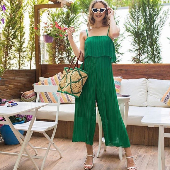 Women Sling Jumpsuit Wide Straight Leg Solid Color Chiffon Jumpsuit