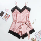 Woman V-neck Lace Jumpsuit Sexy Homewear Elegant Sleepwear