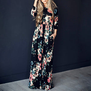 Women Summer Long Sleeve Floral Printing Large Hem Dress