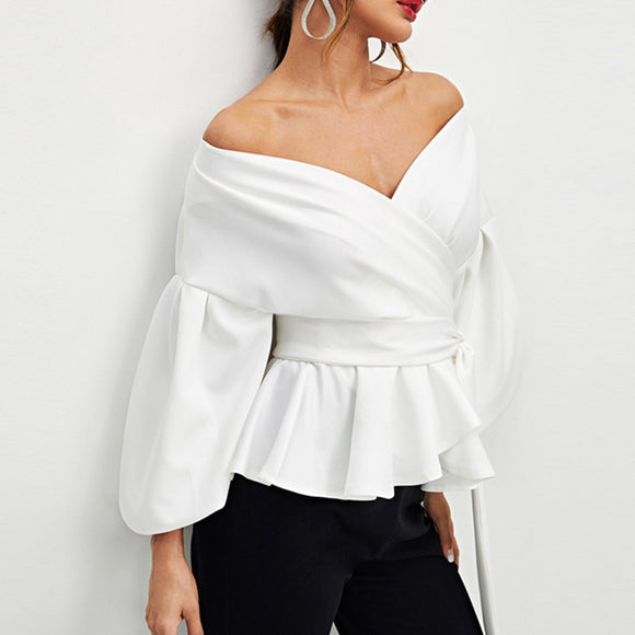 Women Sexy Long Puff Sleeve Bowknot Tight Waist V Neck Off Shoulder Shirt