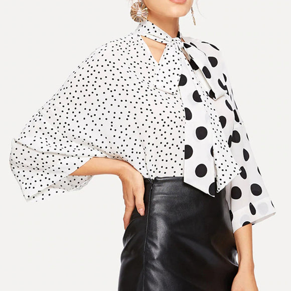 Women Fashion Spring Summer Black Dots Printing V Neck Lacing Shirt Top