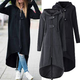 Women Asymmetric Long Sleeve Zipper Buttons Long Style Hooded Sweatshirt Coat
