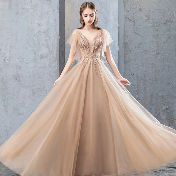 WomenFashion Sexy V Collar Champagne Color Long Temperament Evening Dress
