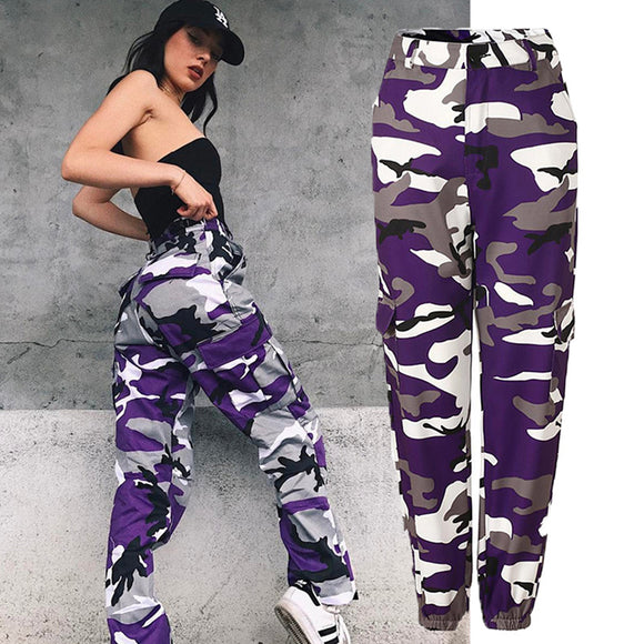 Women Fashion Loose Camouflage Color High Waist Denim Harem Pants