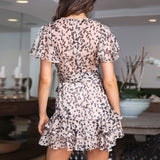 Women Summer Sexy Deep V Collar Flouncing Tight Waist Printing Dress