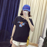 Women Casual T-shirts Simple Printing Short Sleeve All-matching Tops