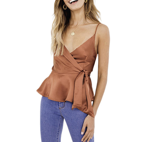 Women Summer Sun-Top Sexy V-Neck Silky Satin Flounce Strap Vest