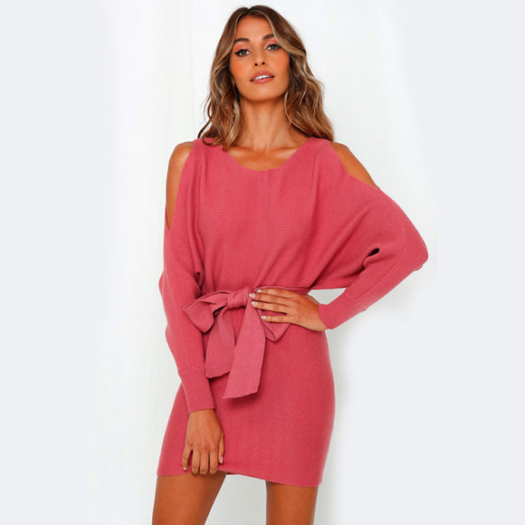 Women Sexy Long Sleeve Off Shoulder Slim Lacing Dress