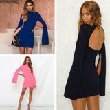 Women Slim Round Collar Backless Split Dress