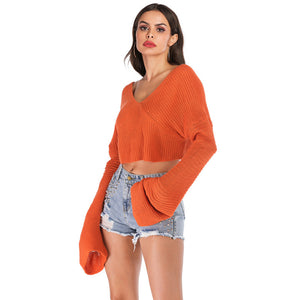 Women Chic Loose Short Type Solid Color Sweater Lumbar Knit Pullover