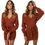 Female Casual Dress Long Sleeve Tied Package Hip Dress V Collar Dress