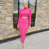 Female Skirt Suits Round Collar Long Sleeve Short Tops+Slim Medium-long Skirt Suits
