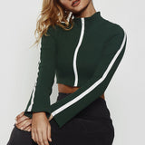 Female Ultra-Short Blouse Zipper Long Sleeve Fashion Tops