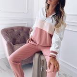 2pcs/set Woman Casual Hooded Matching Colors Sports Suit