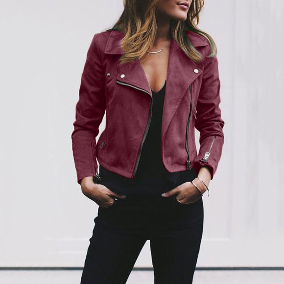 Women Ladies Solid Color Zip Up Biker Jackets Casual Flight Outwear Coat