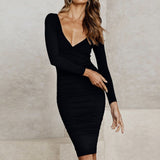 Women Double V Neck Backless Knitted Dress Autumn Winter Long Sleeve Warm Sweater Dress