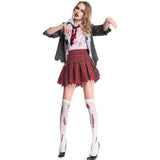 New Horrible Bloody Women Halloween Student Uniform Costumes Female Walking Dead Zombie Cosplays Masquerad Nightclub Party Dress