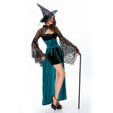 Adult Halloween Witch Costume for Women Sexy Swallow Tail Braces Dress Hat Carnival Party Female Suit
