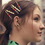 Women Girls Hair Clips Simple Candy Color Natural Stone Hair Accessories