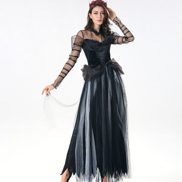 Black Sexy Lace Vampire Witch Costume for Halloween Horror Ghost Bride Cosplay Fantasy Dress