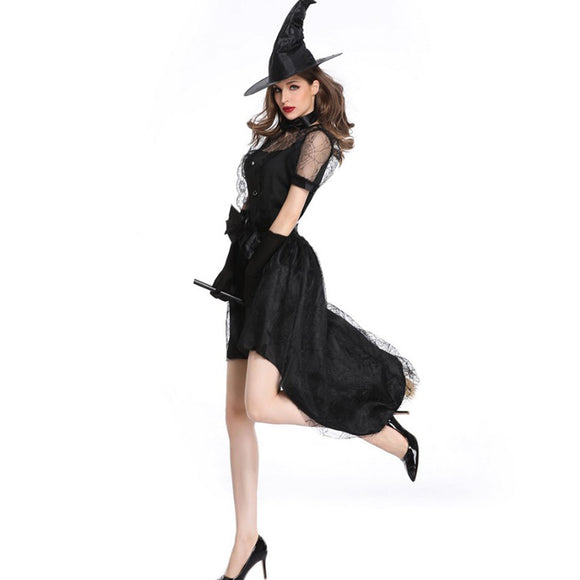 Halloween Witch Black Cosplay Costume Improved Slim Party Dress Horrifying Women Easter COS Performance Clothing Masquerade Gown