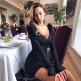 Women Sexy Long Sleeve Solid Color V Collar Dress